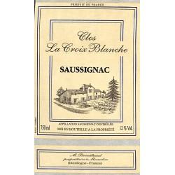 ABAO Etiquettes de vin Saussignac - Clos La Croix Blanche