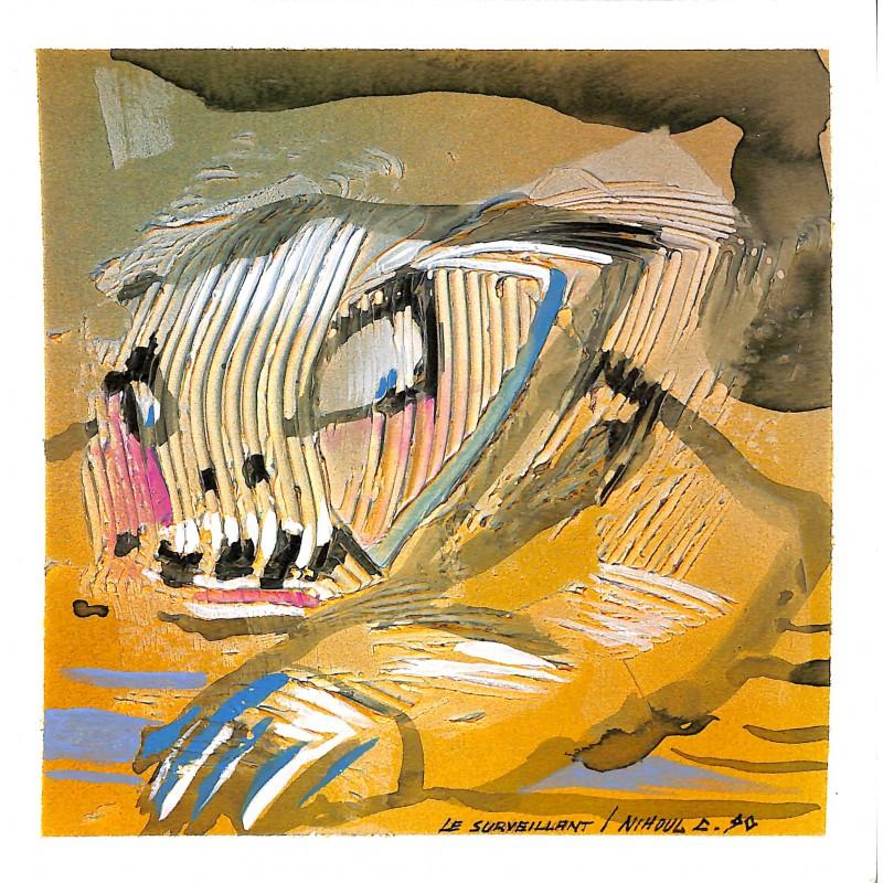 ABAO Originaux Nihoul (Charles) - Le Surveillant. Acrylique sur carton.