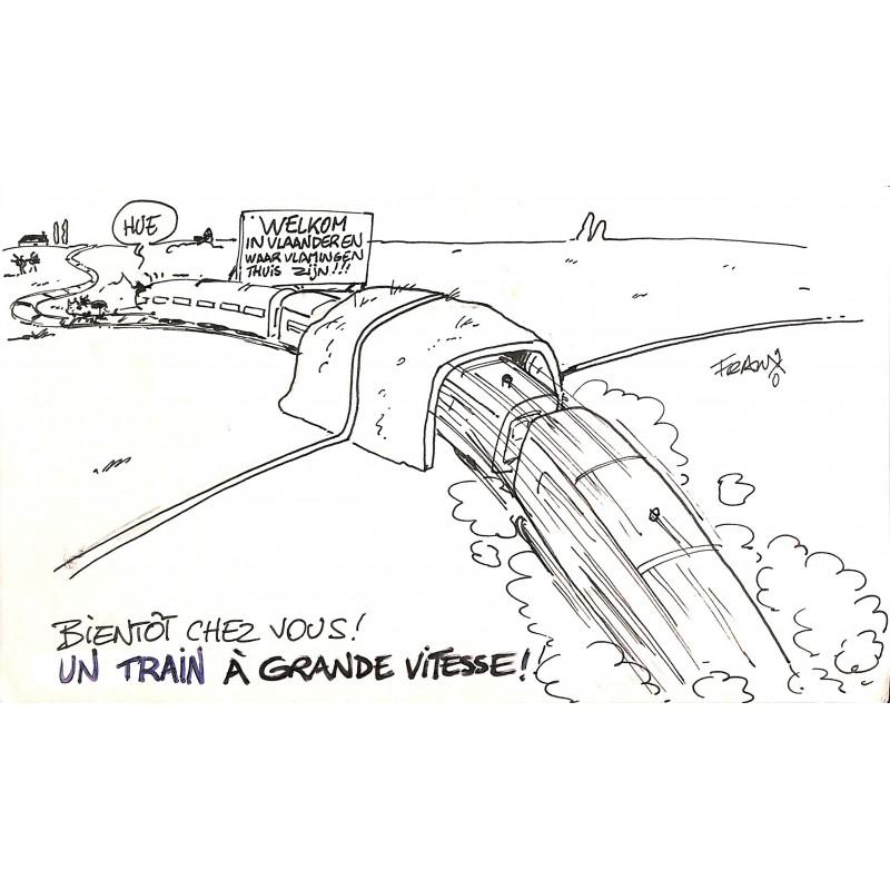 ABAO Originaux Franx (Michel Vranckx, dit) - Dessin de presse original.