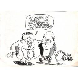 ABAO Originaux Franx (Michel Vranckx, dit) - Caricature de Jean-Luc Dehaene et Wilfried Martens. Dessin de presse original.