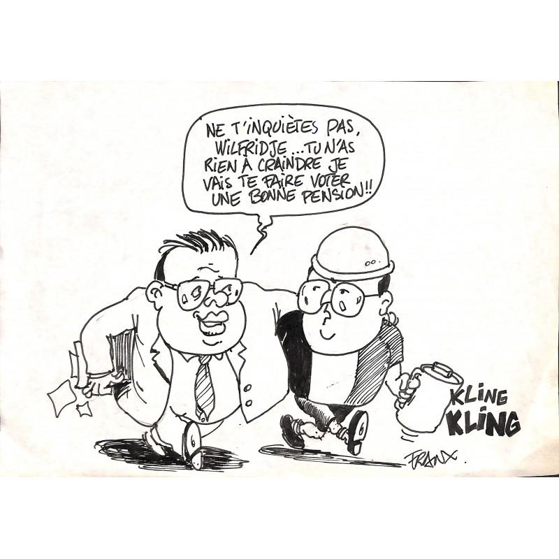 Originaux Franx (Michel Vranckx, dit) - Caricature de Jean-Luc Dehaene et Wilfried Martens. Dessin de presse original.