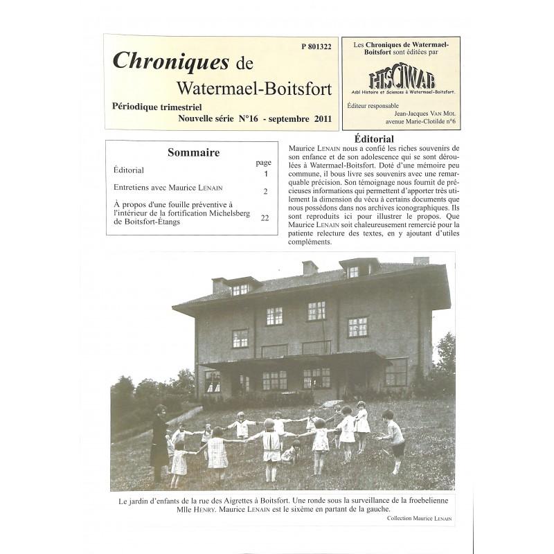 ABAO Journaux et périodiques Chroniques de Watermael-Boitsfort. 2011/09. N°16.