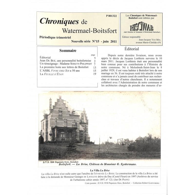 Journaux et périodiques Chroniques de Watermael-Boitsfort. 2011/06. N°15.