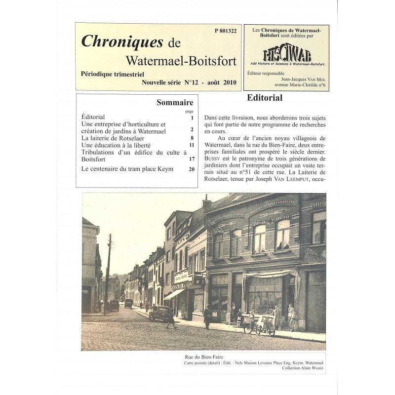 ABAO Journaux et périodiques Chroniques de Watermael-Boitsfort. 2010/08. N°12.
