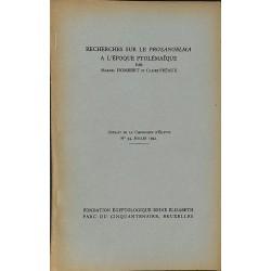 ABAO 1900- Hombert (Marcel) et Préaux (Claire) - Recherches sur le Prosangelma à l'époque Ptolémaïque.