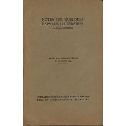 ABAO 1900- Goossens (Roger) - Notes sur quelques papyrus littéraires