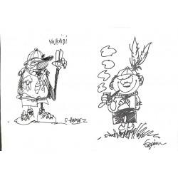 Bandes dessinées Jannin (Frédéric) et Honorez (Serge) - Dessin original sur le thème du scoutisme.