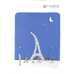 ABAO Sérigraphies & posters Petit-Roulet (Philippe) - Sérigraphie Eutelsat, num. / 100 & s.