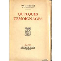 ABAO Grands papiers Bourget (Paul) - Quelques témoignages. EO num./150.