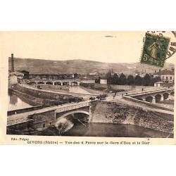 ABAO 69 - Rhône [69] Givors - Vue des 4 Ponts sur la Gare d'Eau et le Gier.