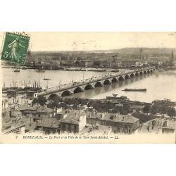 ABAO 33 - Gironde [33] Bordeaux - Le Pont et la Ville de la Tour Saint-Michel.