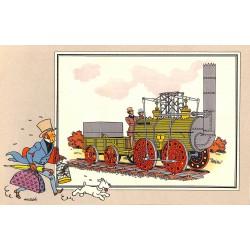 ABAO Bandes dessinées [Hergé] Tintin - Voir et Savoir : Le Chemin de fer, série 1, chromo n°04
