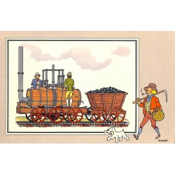 ABAO Bandes dessinées [Hergé] Tintin - Voir et Savoir : Le Chemin de fer, série 1, chromo n°02