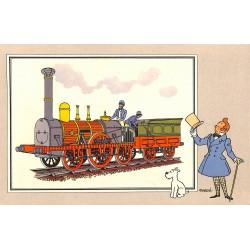 ABAO Bandes dessinées [Hergé] Tintin - Voir et Savoir : Le Chemin de fer, série 1, chromo n°06