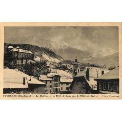 ABAO 74 - Haute Savoie [74] Faverges - Le Château et la Dent de Cons, vue de l'Hôtel de Genève.
