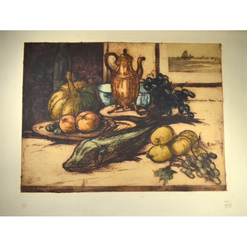 ABAO Gravures OLEFFE (Auguste) - Nature morte.