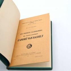 ABAO Poésie Reichert (Madeleine) - Les Sources allemandes des oeuvres poétiques d'André Van Hasselt.