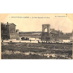 ABAO 69 - Rhône [69] Belleville-sur-Saone - Le Pont suspendu et le Port.