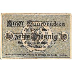 ABAO Billets, actions, monnaies [DE] 10 Pfennig Stadt Saarbrücken 1919