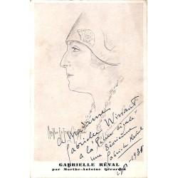 ABAO Lettres et manuscrits Réval (Gabrielle) - Carte manuscrite recto-verso.