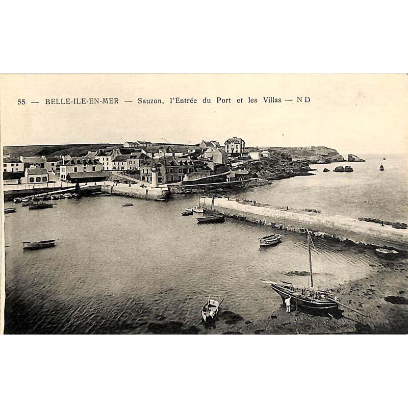ABAO 56 - Morbihan [56] Belle-Île-en-Mer - Sauzon, l'entrée du port et les villas.