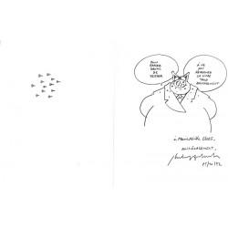 ABAO Originaux Geluck (Philippe) - Le Chat. Exceptionnelle dédicace sur 2 pages.