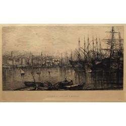 ABAO Gravures Gautier (Lucien) - Intérieur du vieux port à Marseille.
