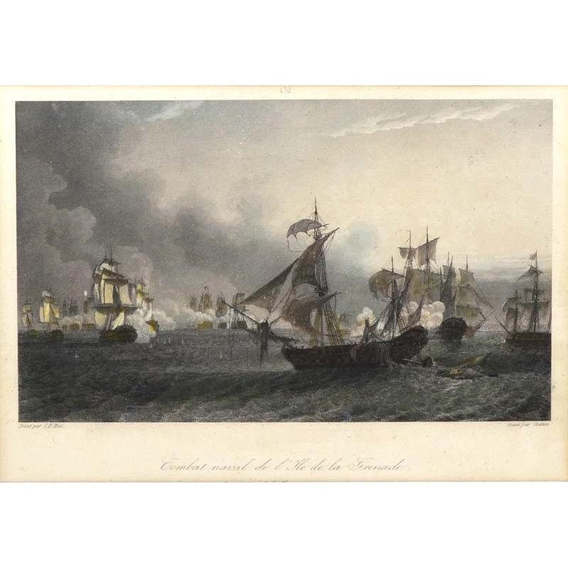 ABAO Gravures Hue (Jean-François) - Combat naval de l'île de la Grenade.