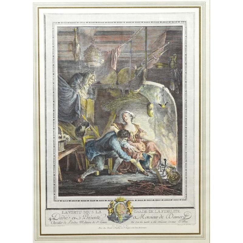 ABAO Gravures Eisen (Charles) - La Vertu sous la garde de la fidélité.