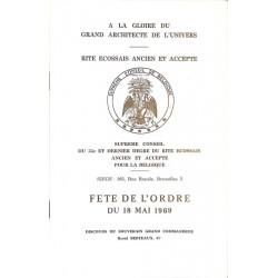 ABAO Franc-Maçonnerie Berteaux (Raoul) - Discours de la fête de l'ordre du 18 mai 1969.
