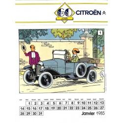 ABAO Produits dérivés [Tintin] Calendrier Citroën 1985.