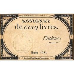 ABAO Billets, actions, monnaies Assignat de cinq livres. Série 1653. Dufour.