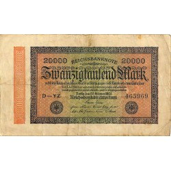 ABAO Billets, actions, monnaies [DE] 20000 Mark. 1923. Banknote Inflation.