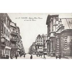 76 - Seine Maritime [76] Le Havre - Eglise Notre Dame et rue de Paris.