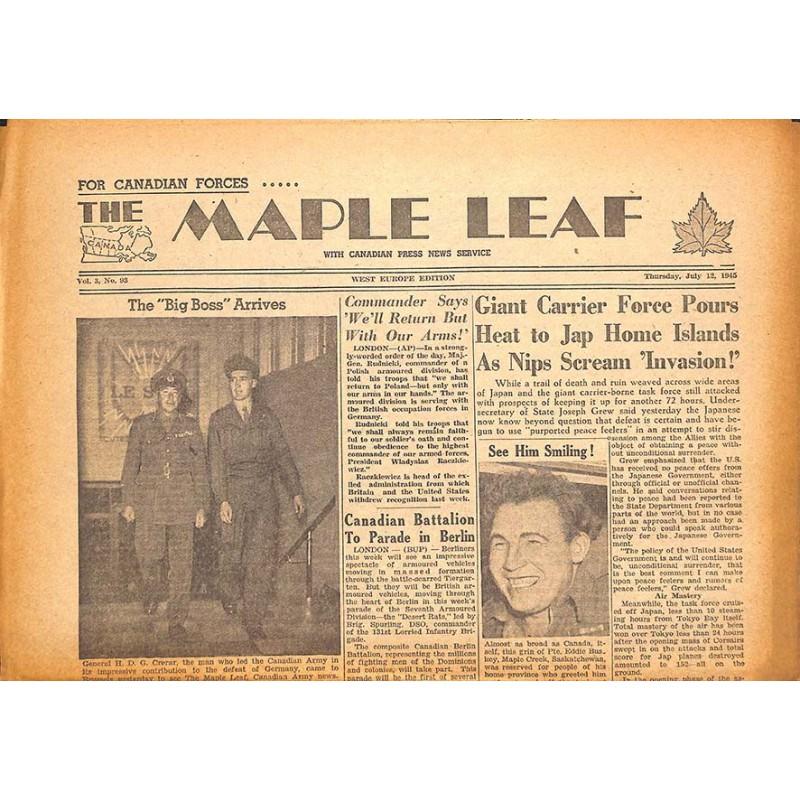 Journaux et périodiques The Maple Leaf. 1945/07/12. Vol.3 N°93.