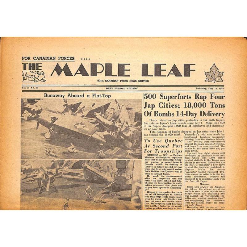 ABAO Journaux et périodiques The Maple Leaf. 1945/07/14. Vol.3 N°95.