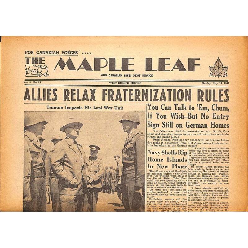 Journaux et périodiques The Maple Leaf. 1945/07/16. Vol.3 N°96.