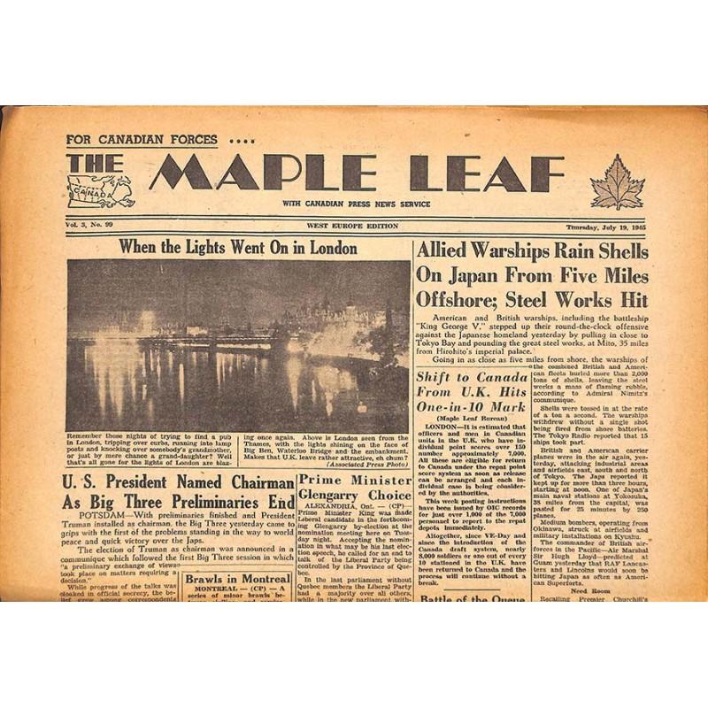 ABAO Journaux et périodiques The Maple Leaf. 1945/07/19. Vol.3 N°99.