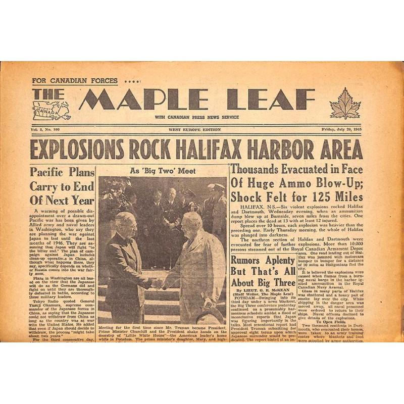 ABAO Journaux et périodiques The Maple Leaf. 1945/07/20. Vol.3 N°100.
