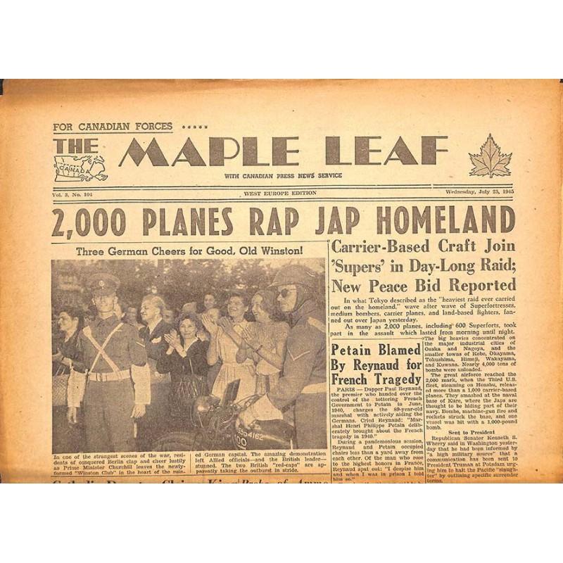 ABAO Journaux et périodiques The Maple Leaf. 1945/07/25. Vol.3 N°104.