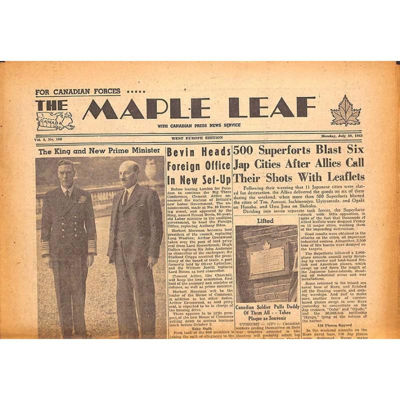 ABAO Journaux et périodiques The Maple Leaf. 1945/07/30. Vol.3 N°108.