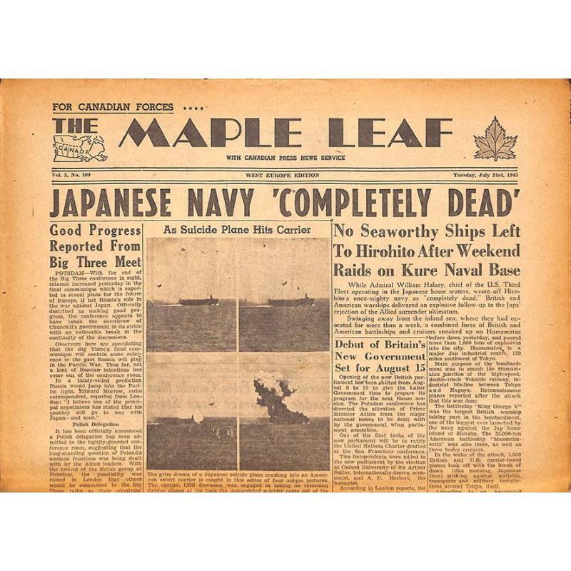 Journaux et périodiques The Maple Leaf. 1945/07/31. Vol.3 N°109.