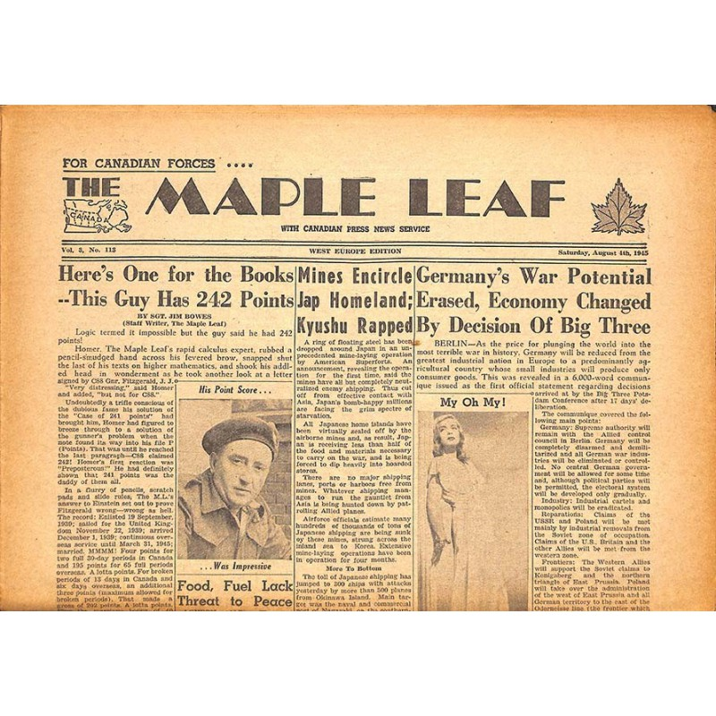 Journaux et périodiques The Maple Leaf. 1945/08/04. Vol.3 N°113.