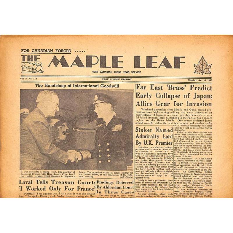 Journaux et périodiques The Maple Leaf. 1945/08/06. Vol.3 N°114.