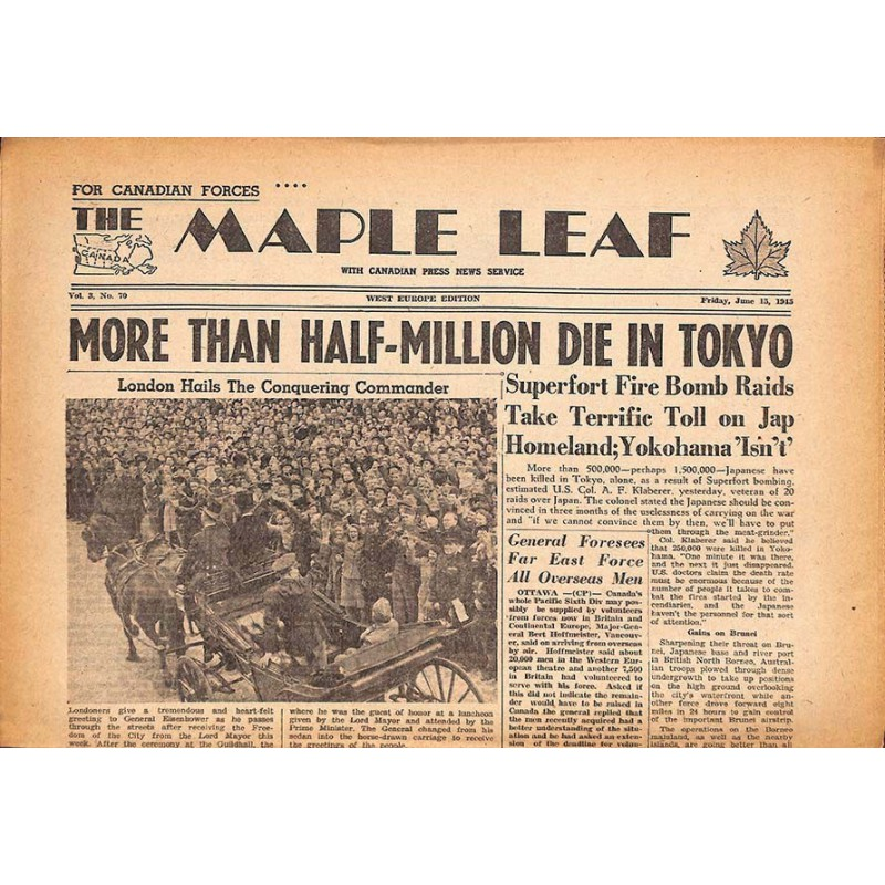 Journaux et périodiques The Maple Leaf. 1945/06/15. Vol.3 N°70.