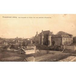 Hainaut Ecaussinnes - Lalaing. Vue d'ensemble du Château Fort avec panorama d'Ecaussinnes.