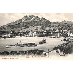 Suisse Luzern - Bahnof und Pilatus.
