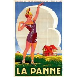 ABAO Affiches LA PANNE Chemins de fers et paquebots de l'état belge.