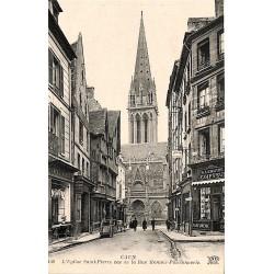 ABAO 14 - Calvados [14] Caen - L'Eglise Saint-Pierre vue de la Rue Montoir-Poissonnerie.