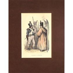 Gravures [Militariat] PAUQUET, Hippolyte.- PATROUILLE RENTRANTE.